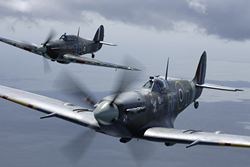 Battle of Britain Memorial Flight (BBMF) Mk Vb Spitfire AB910 and Mk IIc LF363 Hurricane